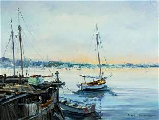 Ward Mann (NY,MA,MI,1921-2005) oil painting