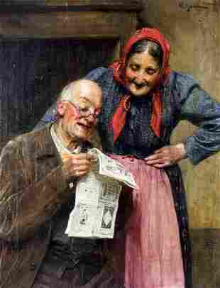 Michele Garinei (Italy,1871-1960) oil painting