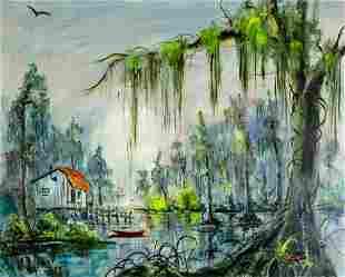 W E Dwyer (LA,born 1904) oil painting