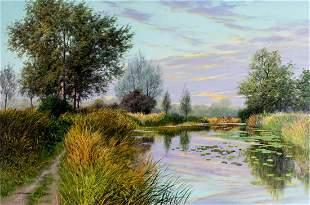 Graham Petley (UK,b 1944) oil painting