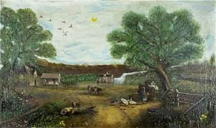 19C American oil painting antique landscape