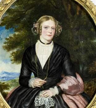 Antique 19C American oil painting Portrait