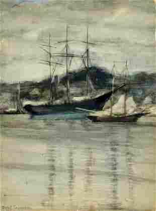 Clara Rossman Saunders (DC,OH,1874-1951) watercolor