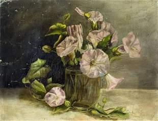 19C Antique American oil painting Still Life