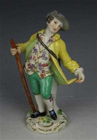 """Meissen Kaendler Figurine """"Boy With Staff"""""""