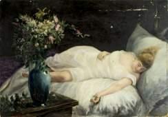Antique 19C American oil painting