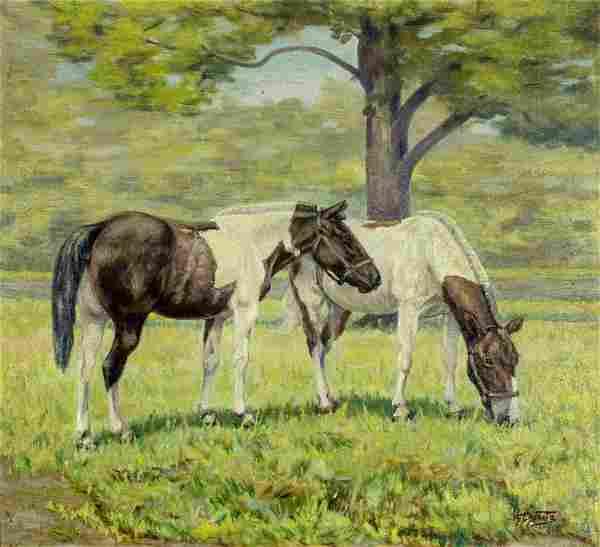 H E Duntz (US,early 20C) oil painting antique