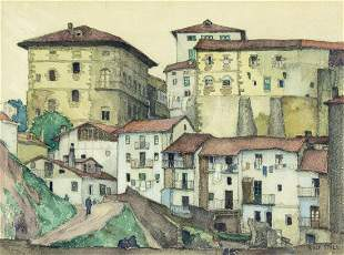 Rolf Stoll (OH,FL,Spain,German,1892-1978) watercolor