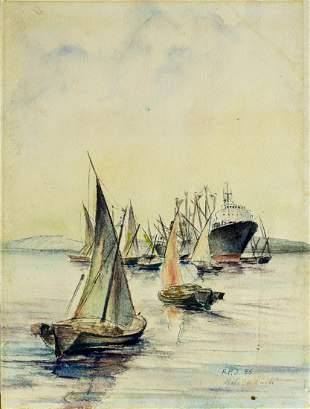Hans Peter Jurgens (German,1924-2018) watercolor