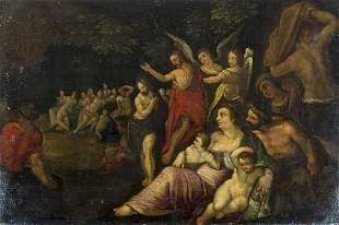 Antique 18C European oil painting