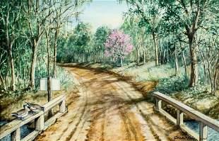Gene Klebe (ME,1907-2009) watercolor painting