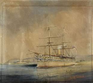 Harold Whitehead (UK,fl 1890-1910) watercolor painting