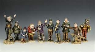 "Eckert Dresden Volkstedt 10 figurines ""Musicians"""