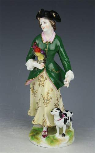 """Antique Dresden Volkstedt figurine """"Lady with Parrot"""