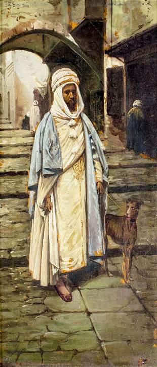 Antique 19C European oil painting