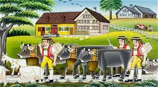 Willi Keller (Swiss,b 1944) acrylic painting