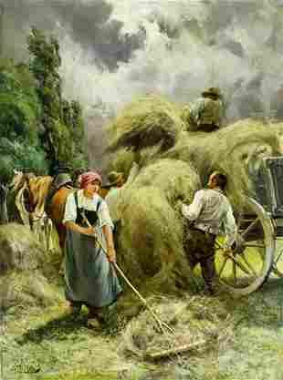 Julien Jos (Belgian,1860-1910) oil painting antique