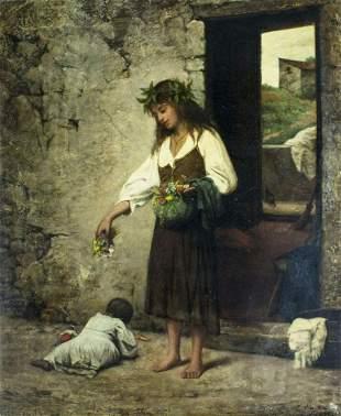 Attilio Baccani (Italy,1844-1889) oil painting antique