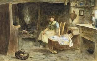 Norman E Tayler (UK,1843-1915) watercolor painting