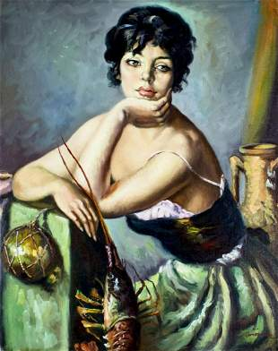 C Martinez (Spain,20C) oil painting
