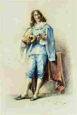 Luigi Cavalieri (Italy,19C) watercolor painting antique