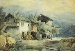 Oswald Achenbach (German,1827-1905) watercolor painting