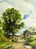 David Bates (UK,1840-1921) oil painting antique