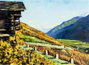 Vintage 1965 Swiss oil painting Landscape