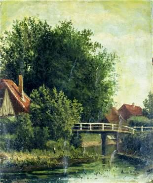 Antique 19C oil painting signed illegible
