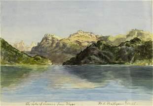 M K Milligan (Swiss,19/20C) watercolor painting antique