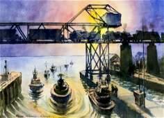 Ross Nicoll (WA,UK,20C) watercolor painting