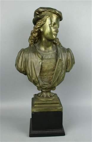 """Antique Duchoiselle Bronze Bust """"Young Raphael"""""""