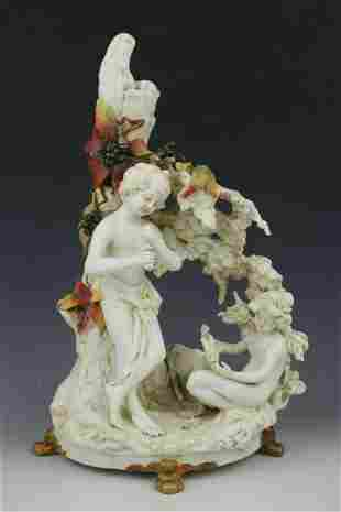 """19Ð¡ Dresden Volkstedt figurine """"Boy and Girl"""""""
