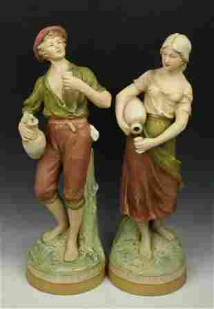 """Royal Dux figurines """"Boy & Girl with Jugs"""""""