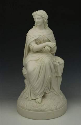 "Antique English parian figurine ""Sitting Woman"""