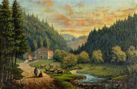 Antique 19C American oil painting Landscape