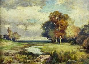F Larson (US,19/20C) oil painting antique