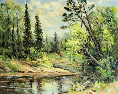 Fraser (US,mid 20C) oil painting antique