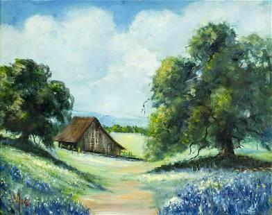 Leola Moss (TX,1909-2007) oil painting