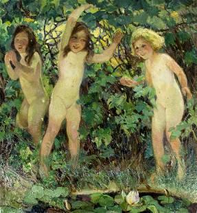 Bertha Menzler Peyton (MA,AZ,IL,1871-1947) oil painting