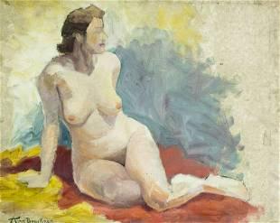 Ann Brockman (CA,MA,1899-1943) oil painting antique
