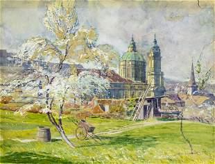 Jan Spacil Zeranovsky (Czech,1892-1982) watercolor