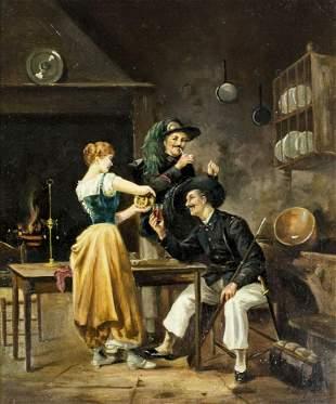 Antique 19C European oil painting signed