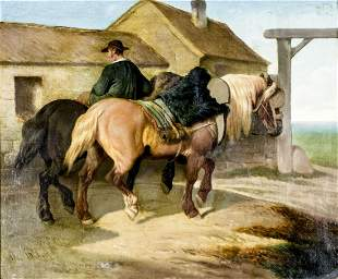 Theodore Fort (France,1810-1896) oil painting antique