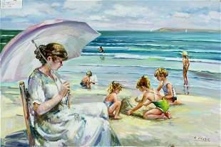 K Leone (US,20C) oil painting