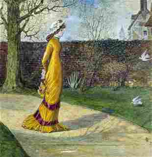 Antique 19C watercolor painting