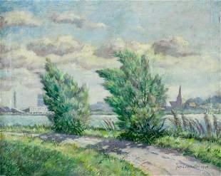 Joh Leopotof (US, mid 20C) oil painting antique