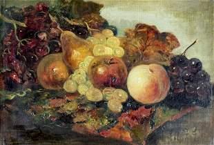 Antique 19C European oil painting Still Life