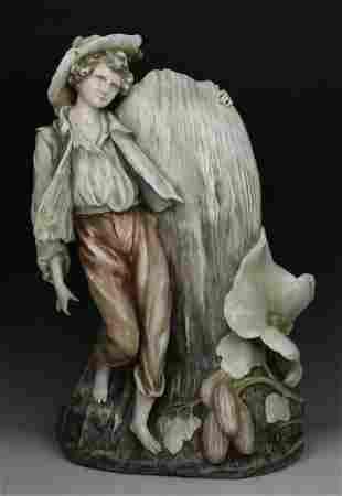 "19C 18"" art nouveau Dresden Volkstedt Vase with Boy"