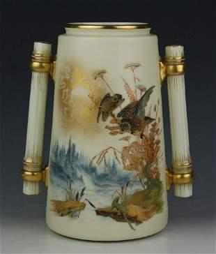 19C Royal Worcester Charles Baldwyn Vase with Owl